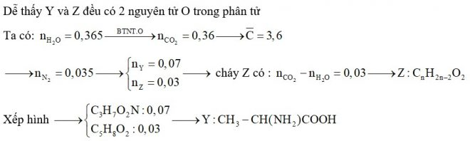 Hỗn hợp X gồm một α-amino axit Y thuộc dãy đồng đẳng của glyxin và một este Z đơn chức, mạch hở. Đốt cháy hoàn toàn 0,1 mol X cần dùng 0,4425 mol O2