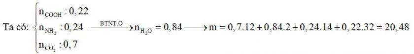Hỗn hợp X gồm glyxin, alanin, lysin và axit glutamic. Cho m gam X tác dụng vừa đủ với dung dịch chứa 0,24 mol HCl hoặc dung dịch chứa 0,22 mol NaOH