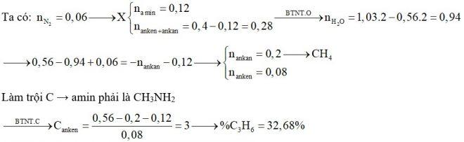 Hỗn hợp X chứa một amin no, mạch hở, đơn chức, một ankan và một anken. Đốt cháy hoàn toàn 0,4 mol X cần dùng vừa đủ 1,03 mol O2