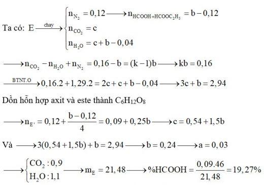 Hỗn hợp E chứa HCOOH 3a mol, HCOOC2H5 a mol, lysin và hexametylenđiamin. Đốt cháy hoàn toàn b mol hỗn hợp E cần vừa đủ 1,29 mol O2