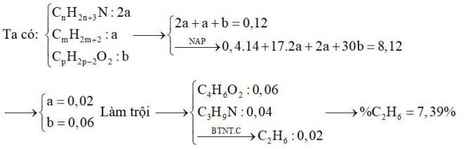 Hỗn hợp E chứa một amin no, đơn chức bậc 3; một ankan và một este tạo bởi axit thuộc dãy đồng đẳng của axit acrylic