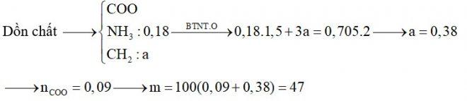 Hỗn hợp X gồm Gly, Ala, Val, metylamin và etylamin. Đốt cháy hoàn toàn 0,18 mol hỗn hợp X cần dùng vừa đủ 0,705 mol O2