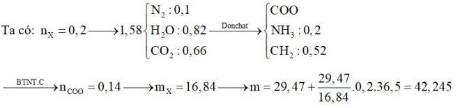 Hỗn hợp X gồm alanin, axit glutamic và hai amin thuộc dãy đồng đẳng của metylamin. Đốt cháy hoàn toàn 0,2 mol hỗn hợp X, thu được 1,58 mol hỗn hợp Y gồm CO2, H2O và N2. Dẫn Y qua bình đựng dung dịch H2SO4 đặc dư, thấy khối lượng bình tăng 14,76 gam. Nếu cho 29,47 gam hỗn hợp X trên tác dụng với dung dịch HCl loãng dư, thu được m gam muối. Giá trị gần nhất của m là. A. 40 B. 48 C. 42 D. 46