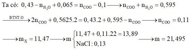 Hỗn hợp X gồm Glu, lys, Val, Ala và Gly. Đốt cháy hoàn toàn 0,1 mol hỗn hợp X cần 0,5625 mol O2 thu được H2O, N2 và 0,43 mol CO2