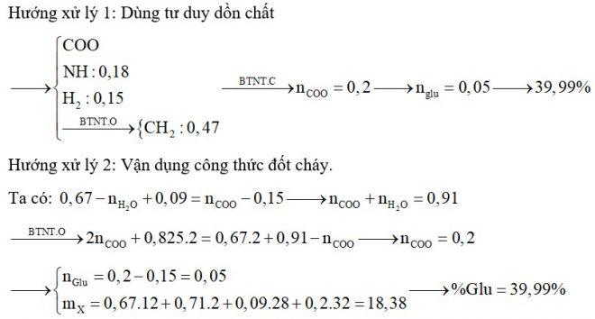 Hỗn hợp X gồm Glu, lys, Val, Ala và Gly. Đốt cháy hoàn toàn 0,15 mol hỗn hợp X cần 0,825 mol O2 thu được H2O, 0,09 mol N2 và 0,67 mol CO2