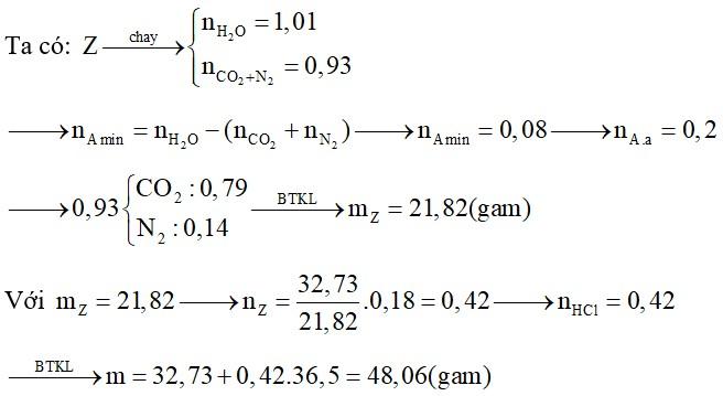 Hỗn hợp X chứa hai amin thuộc dãy đồng đẳng của metylamin. Y chứa một α-amino axit thuộc dãy đồng đẳng của glyxin
