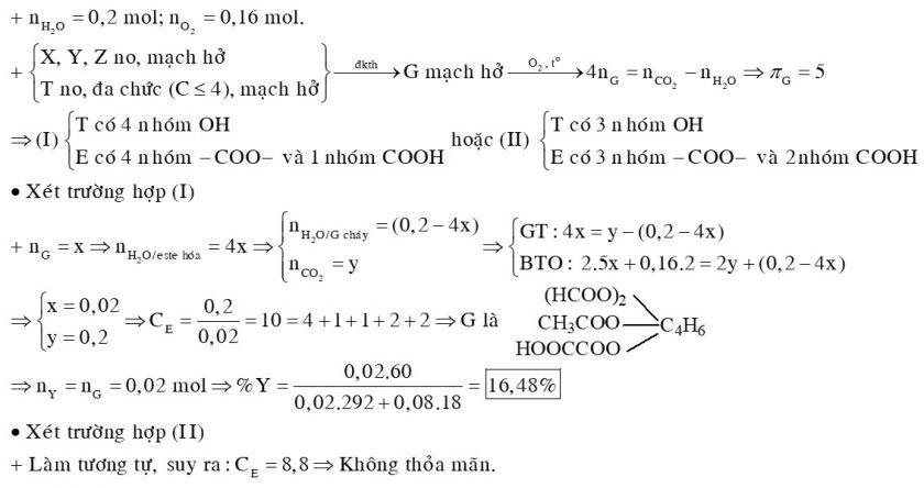 Hỗn hợp E gồm ba axit cacboxylic no, mạch hở X, Y, Z (MX < MY < MZ) và một ancol no, mạch hở, đa chức T (phân tử không có quá 4 nguyên tử C)